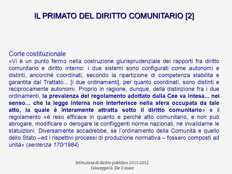 IL PRIMATO DEL DIRITTO COMUNITARIO [2]